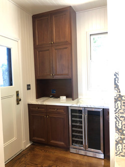 Breakfast bar and wine fridge.