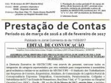 SINTECT-PE realiza assembleia de prestação de contas