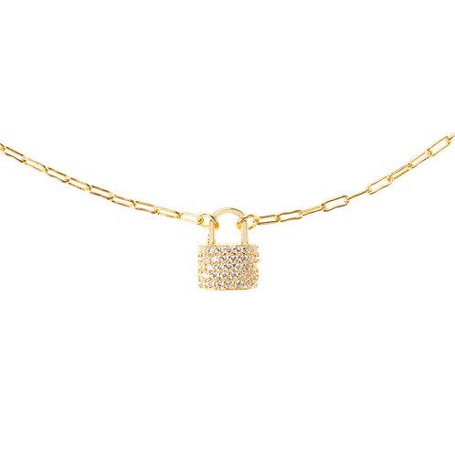 padlock gold choker necklace