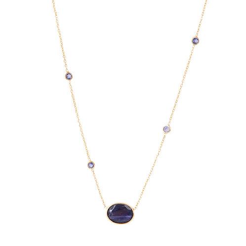 Blue iolite gold necklace