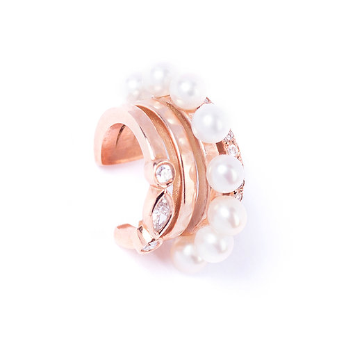 pearls and diamonds rose gold single earring