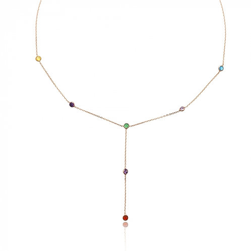 Lariat Rainbow necklace multistones