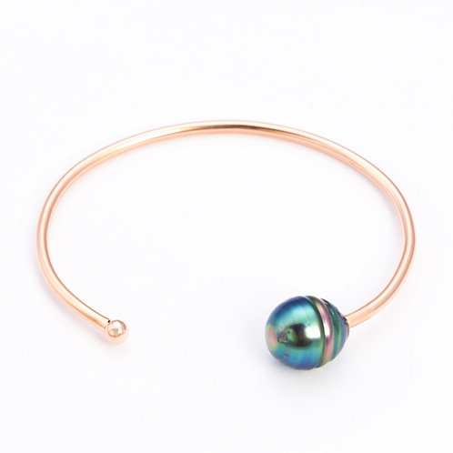 Rose gold plated silver tahitian pearl cuff