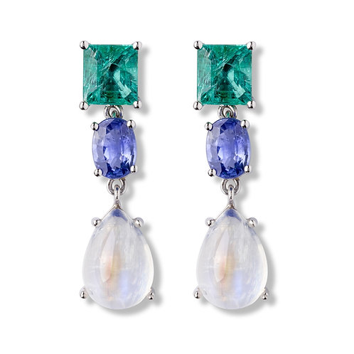 Emerald and sapphires white gold earrings