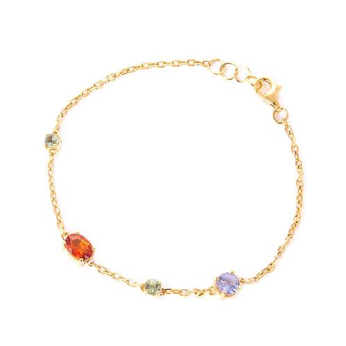 Multi stones chain gold bracelet