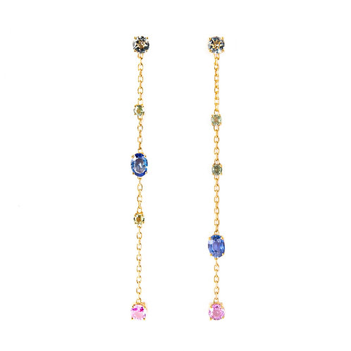Multi stones gold chain earrings