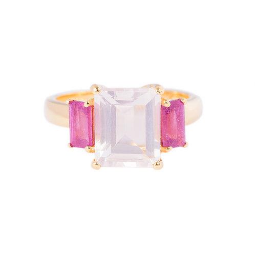 Pink quartz cocktail ring
