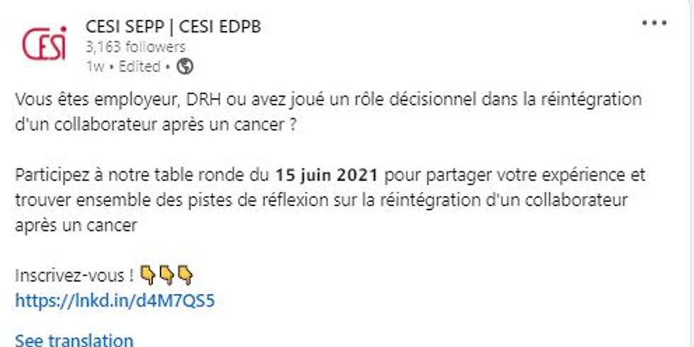 Table ronde CESI : retour au travail après cancer