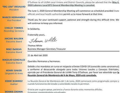May 2020 Membership Cancellation