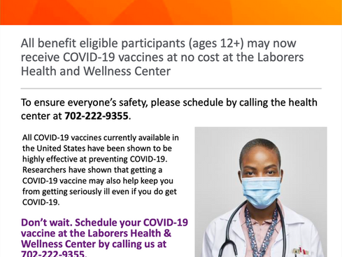 COVID-19 vaccines available at the Laborers Health and Wellness Center