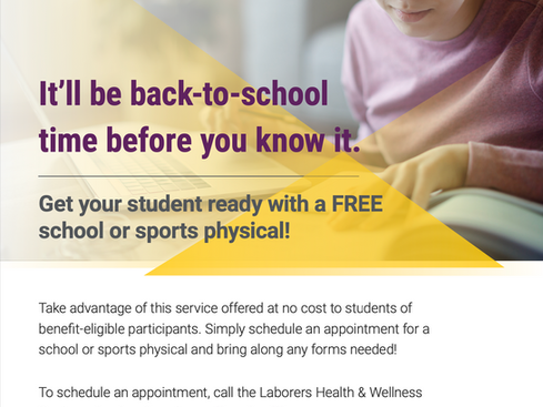 School and Sports Physicals Available at Laborers Health & Wellness Center