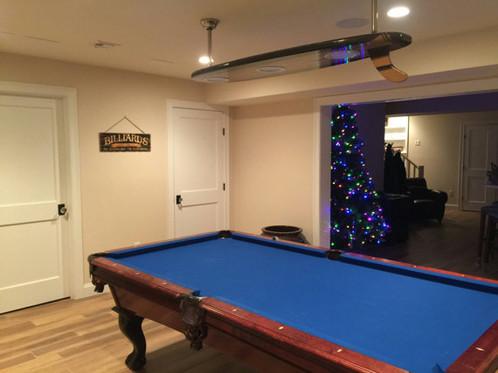 Surfboard Billiard Light - Old school pool table