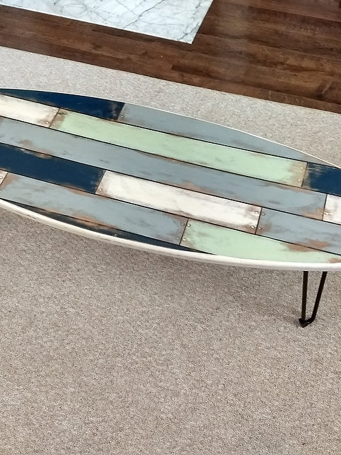 Distressed Shortboard Surfboard Coffee Table White/Navy/Mint