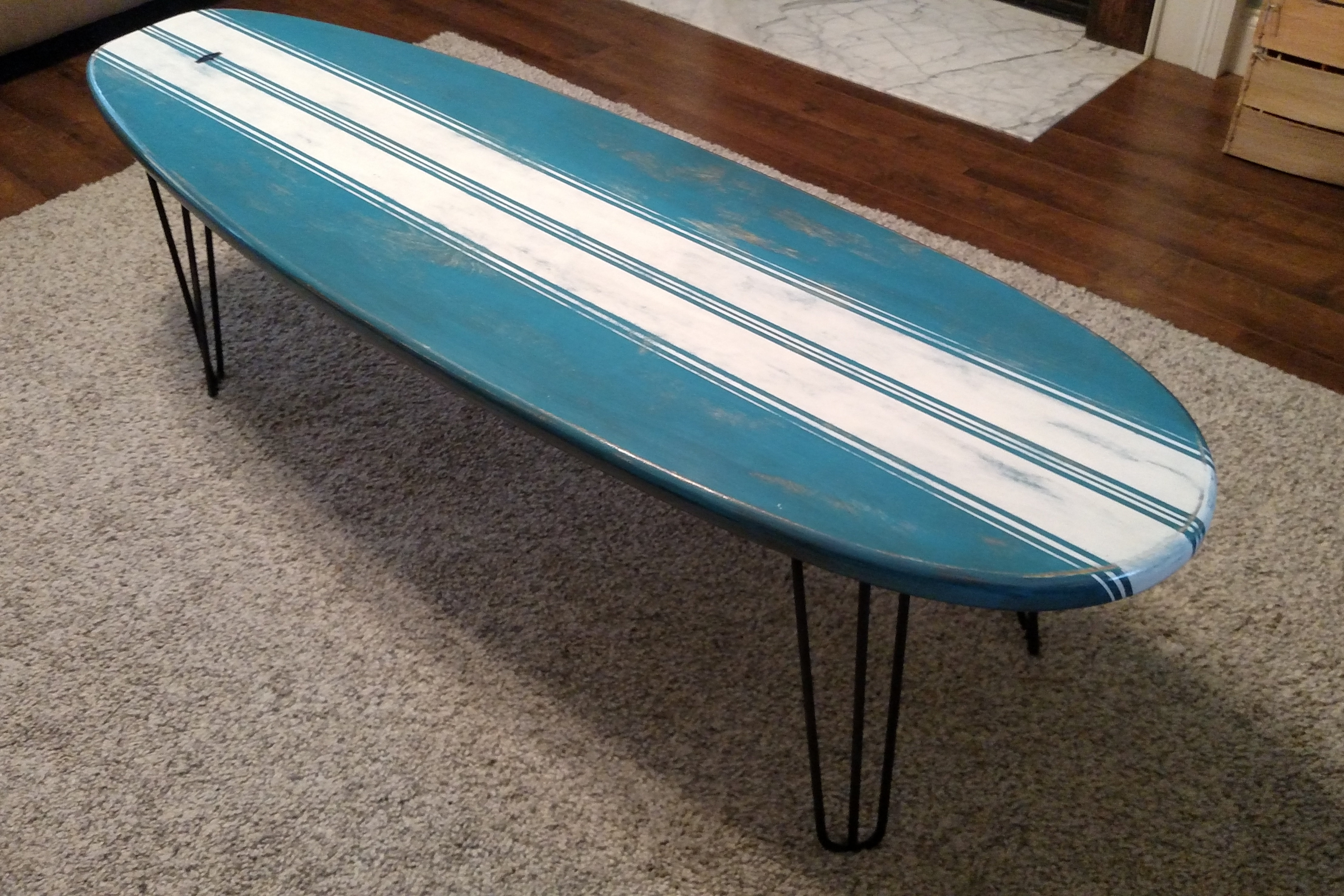 marker six surf works surfboard furniture surf decor | surfboard Surfboard Coffee Table