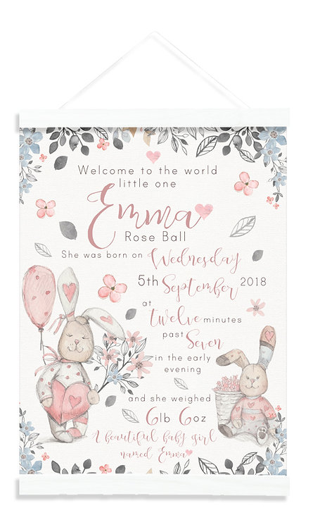 Personalised Watercolour Rabbits Pink Canvas Birth Print