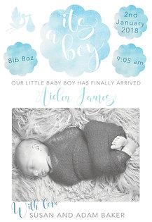 Baby Boy Watercolour Thank You