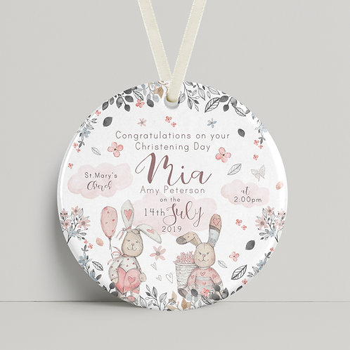 Christening - Floral Rabbits Pink