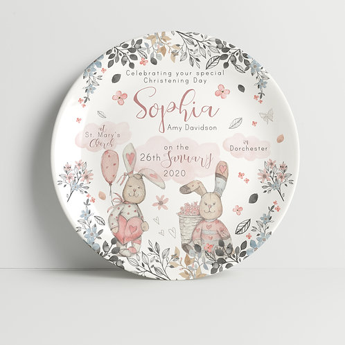 Christening Floral Rabbits Pink