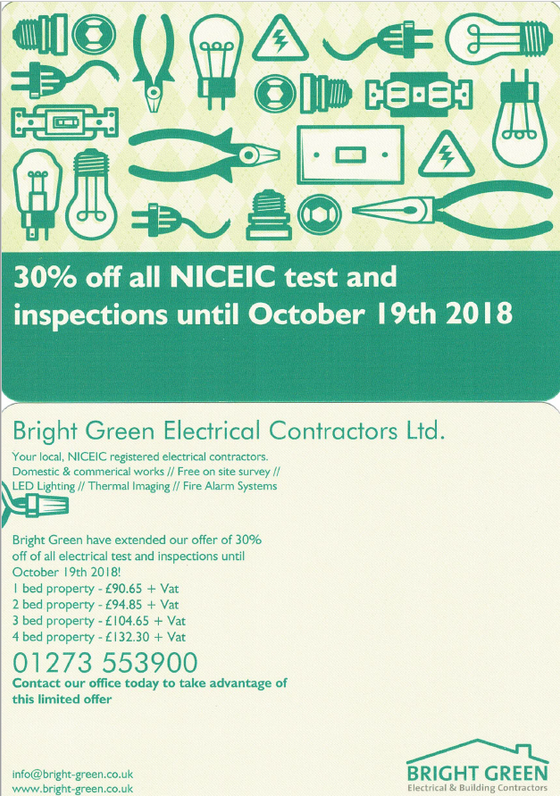 Extending our 30% off all NICEIC test and Inspections through to October 19th!