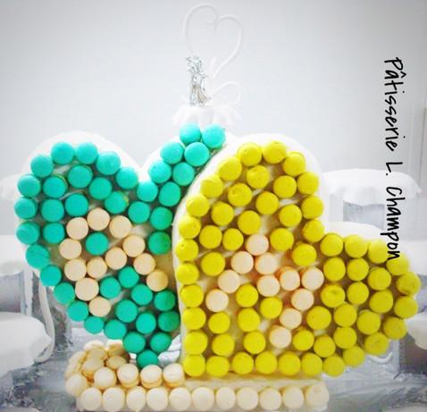 Coeur à coeur en macarons