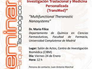 """Conferencia """"Multifunctional Theranostic Nanosystems"""" por el Dr. Marco Filice el próximo v"""