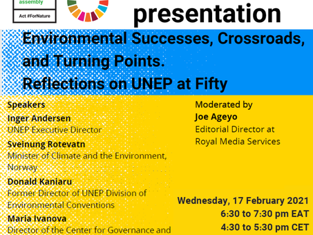 EVENT: Environmental Successes, Crossroads and Turning Points. Reflections on UNEP at Fifty Webinar