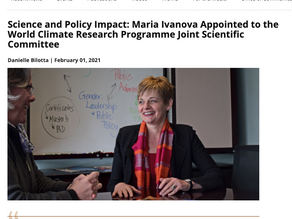 Maria Ivanova Appointed to the World Climate Research Programme Joint Scientific Committee