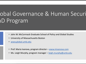 Global Governance and Human Security PhD info session with Maria Ivanova