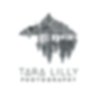 Tara Lilly Photography logo. Trees. Mountain. Photo. Weddings.