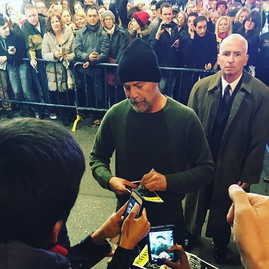 Actor Bruce Willis signs autographs for fans after this evenings performance of Misery