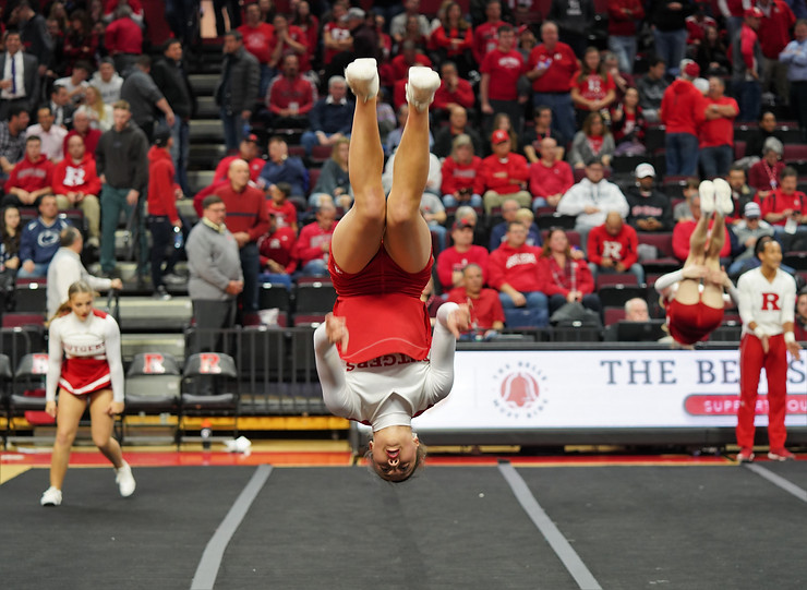 flip for joy as Rutgers won 72-61 Photo by Brian Hester