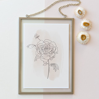 rose print framed