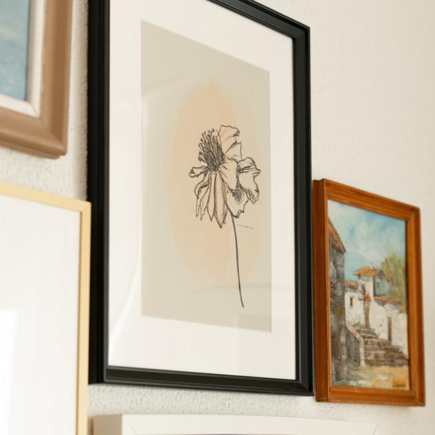 flower print framed
