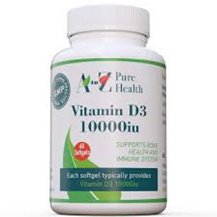 Vitamina D3 10000iu 60 softgel - A to Z Pure Health