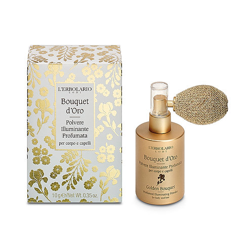 Polvere illuminante profumata corpo e capelli  Bouquet d'Oro - Erbolario