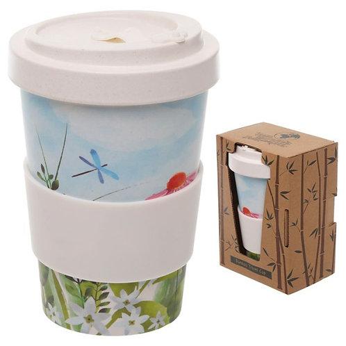 Tazza Termica Riutilizzabile in Composto di Bambù e Silicone - fiori
