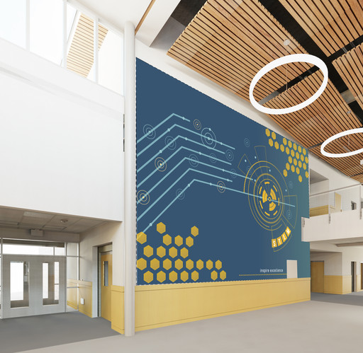Vinyl wall mural design featuring science, technology, and math, for elementary school interior vinyl mural.