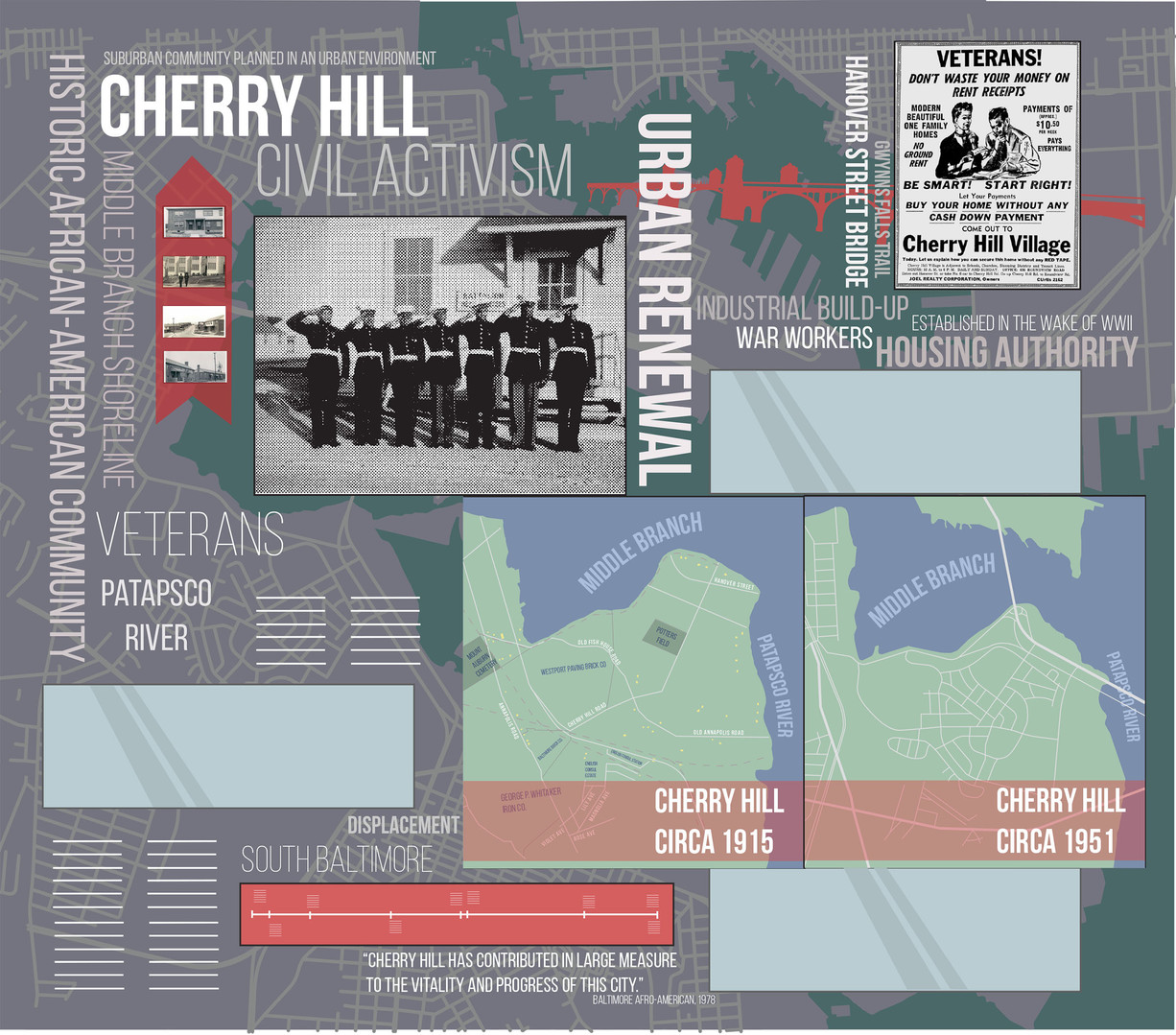 History wall design for Cherry Hill Elementary/Middle School in Baltimore, Maryland, featuring maps, local history, advertisements, and timelines.