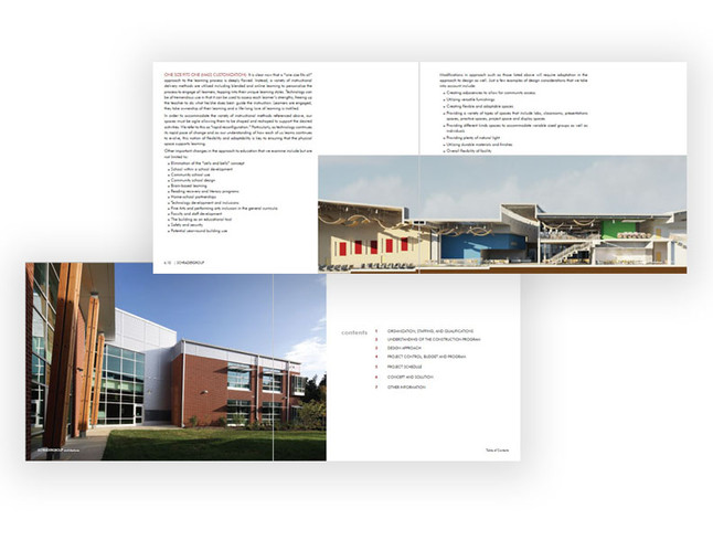 Additional interior spreads of architectural proposal documents.