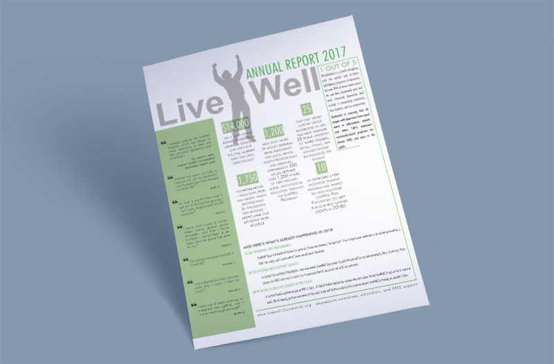 Single Page Annual Report. Created for LiveWell Foundation, for use in print and web.