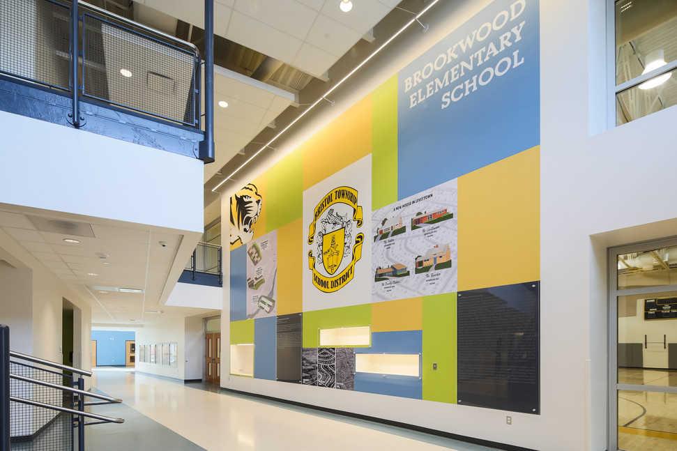 Design of vinyl interior graphics for wall showing local history of Levittown, Pennsylvania. Designed and installed in three new elementary schools.