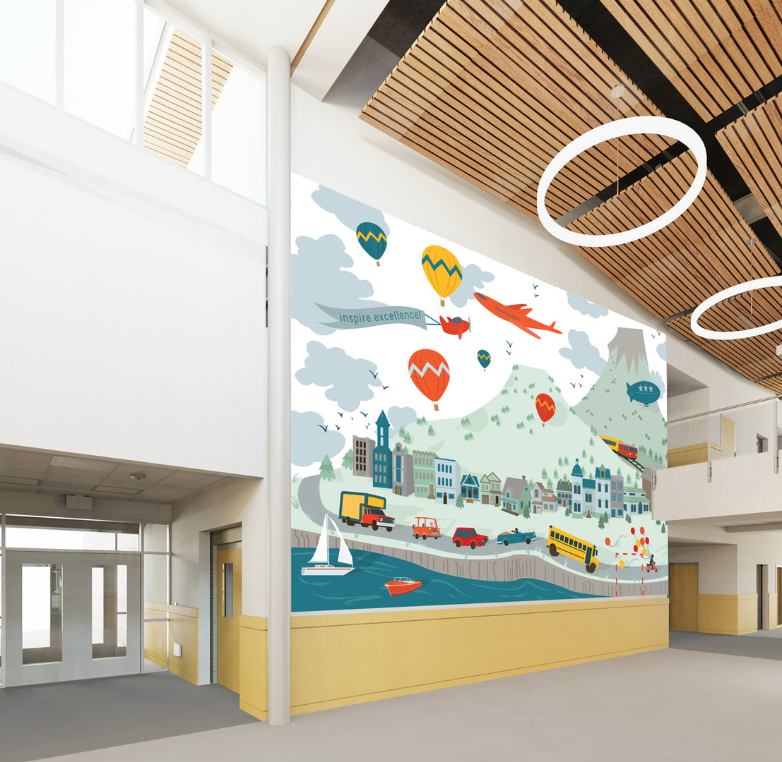 Conceptual wall art design for vinyl interior graphics in an Elementary School Design.