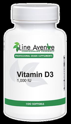 Vitamin D3 1000 IU- white plastic bottle image