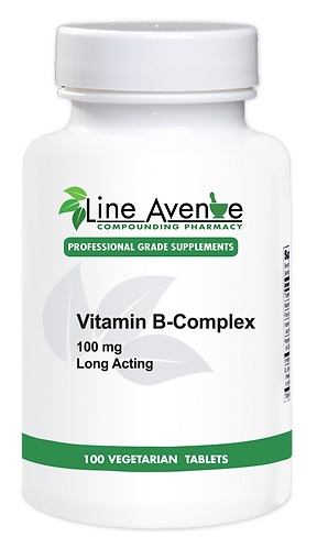 Vitamin B-Complex Long-Acting Formula 100 mg white plastic bottle image