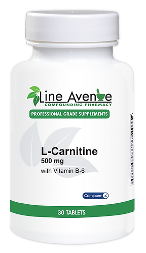 L-Carnitine 500 mg with Vitamin B6 white plastic bottle image
