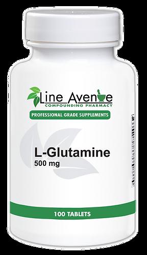 L-Glutamine – 500mg Tablets white plastic bottle image