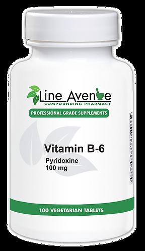 Vitamin B-6 Pyridoxine 100 mg white plastic bottle image