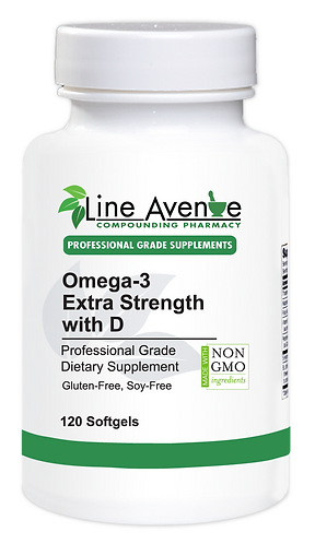 Omega-3 Extra Strength with D white plastic bottle image