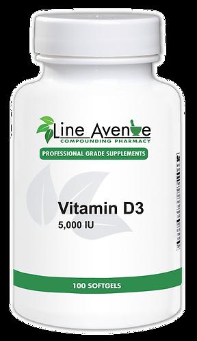 Vitamin D 5000 IU white plastic bottle image