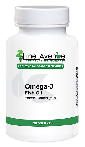 Omega-3 Fish Oil, Enteric Coated, High Potency 120 ct white plastic bottle image